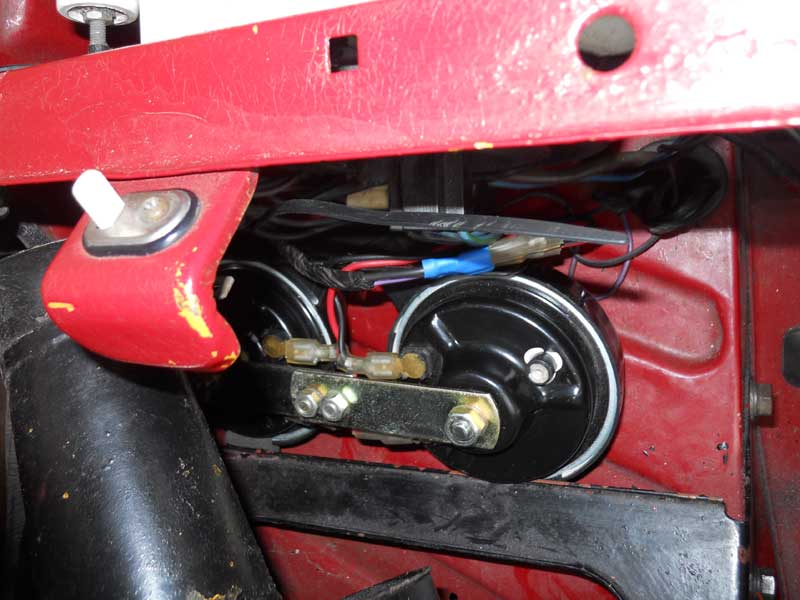 Temorary location for Rover SD1 horns behind N/S headlamp